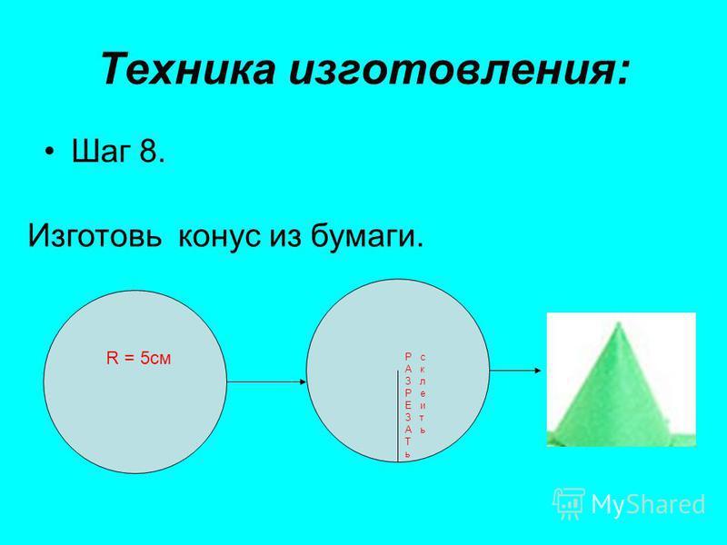 Техника изготовления: Шаг 8. Изготовь конус из бумаги. R = 5 см Р с А к З л Р е Е и З т А ь Т ь