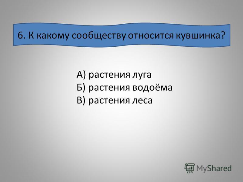 6. К какому сообществу относится кувшинка? А) растения луга Б) растения водоёма В) растения леса