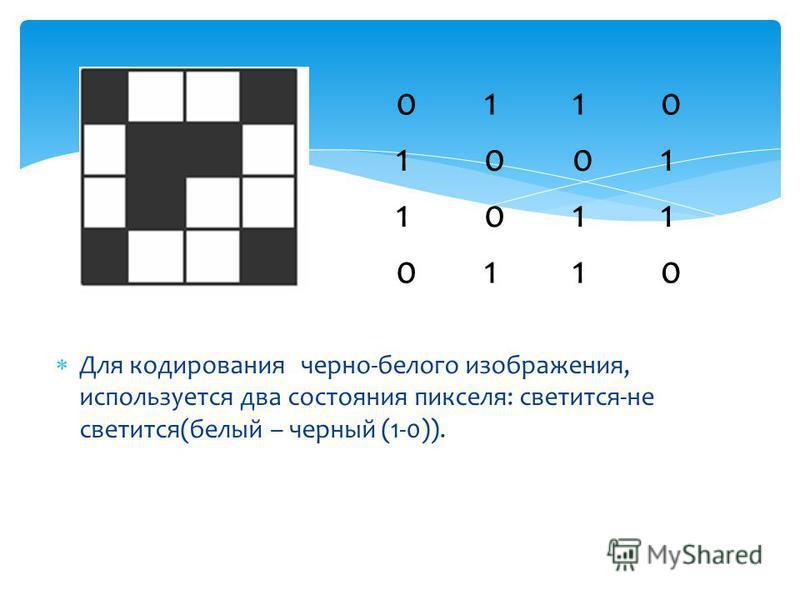 Для кодирования черно-белого изображения, используется два состояния пикселя: светится-не светится(белый – черный (1-0)). 0110 1001 1011 0110