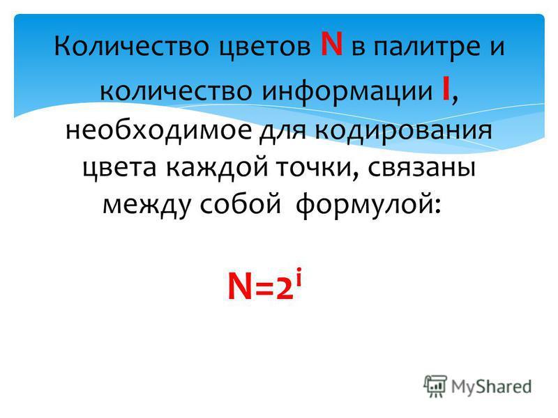 Количество цветов N в палитре и количество информации I, необходимое для кодирования цвета каждой точки, связаны между собой формулой: N=2 i