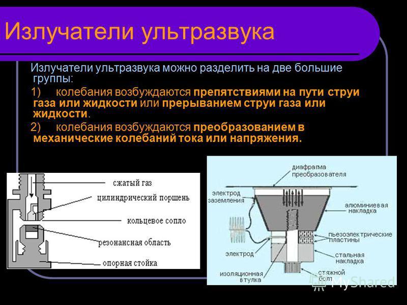 Излучатели ультразвука Излучатели ультразвука можно разделить на две большие группы: 1) колебания возбуждаются препятствиями на пути струи газа или жидкости или прерыванием струи газа или жидкости. 2) колебания возбуждаются преобразованием в механиче