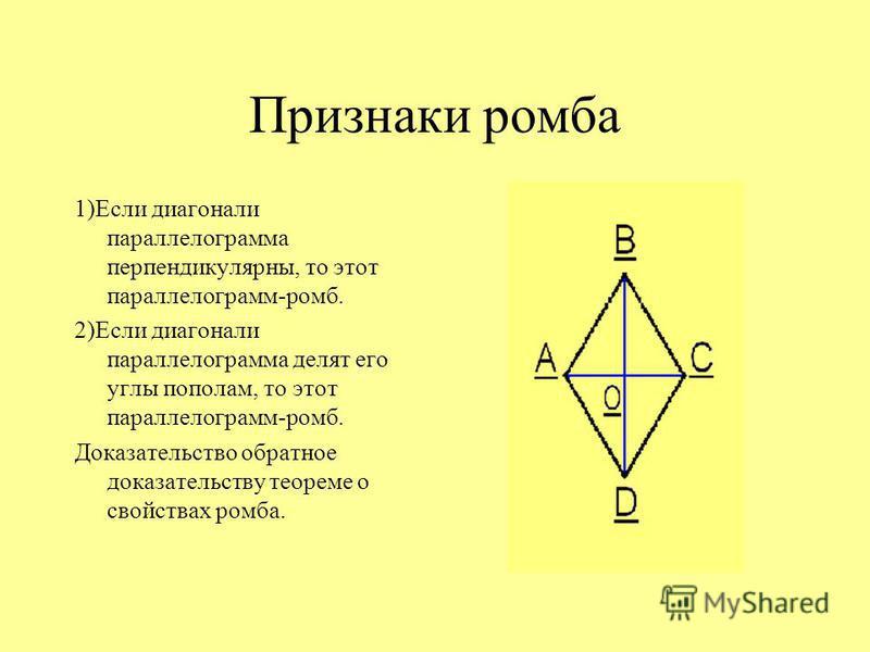 Свойства ромба Диагонали ромба взаимно перпендикулярны и делят его углы пополам. Доказательство: рассмотрим ромб ABCD. AB=AD, следовательно треугольник BAD-равнобедренный. AO- медиана в равнобедренном треугольнике, а соответственно биссектриса и высо