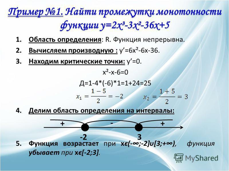 1. Область определения: R. Функция непрерывна. 2. Вычисляем производную : y=6x²-6x-36. 3. Находим критические точки: y=0. x²-x-6=0 Д=1-4*(-6)*1=1+24=25 4. Делим область определения на интервалы: 5. Функция возрастает при xϵ(-;-2]υ[3;+), функция убыва