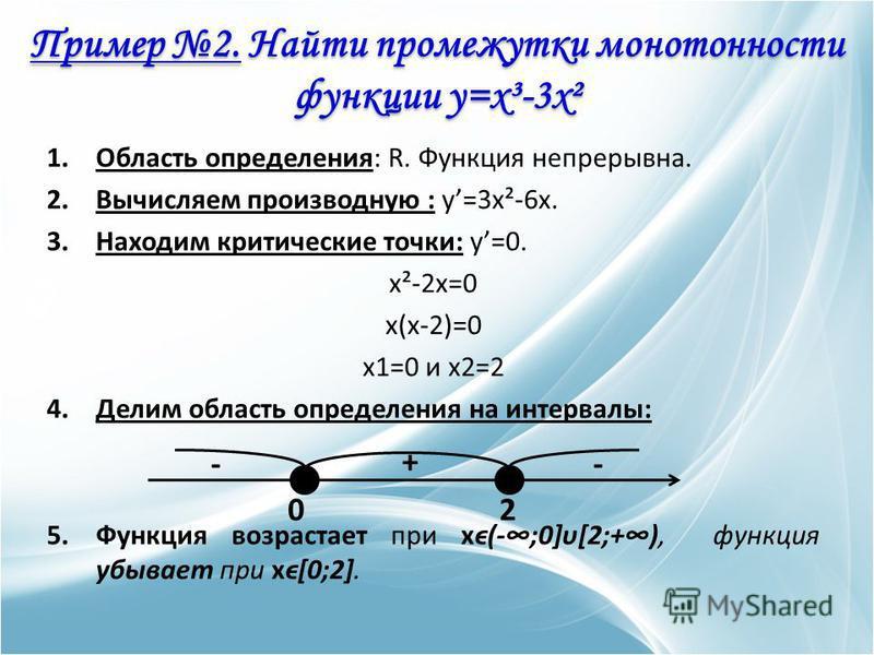 1. Область определения: R. Функция непрерывна. 2. Вычисляем производную : y=3x²-6x. 3. Находим критические точки: y=0. x²-2x=0 x(x-2)=0 x1=0 и x2=2 4. Делим область определения на интервалы: 5. Функция возрастает при xϵ(-;0]υ[2;+), функция убывает пр