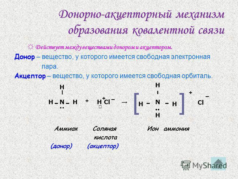 Обменный механизм образования ковалентной связи Действует, когда атомы образуют общие электронные пары за счёт объединения неспаренных электронов. Действует, когда атомы образуют общие электронные пары за счёт объединения неспаренных электронов. Напр