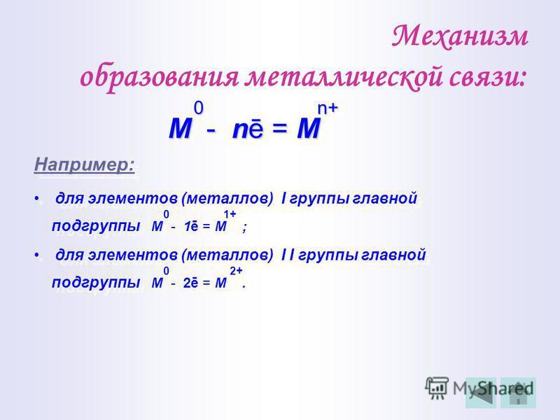Металлическая связь это связь, которую осуществляют относительно свободные электроны между ионами металлов в металлической решётке.это связь, которую осуществляют относительно свободные электроны между ионами металлов в металлической решётке. n+ M n+