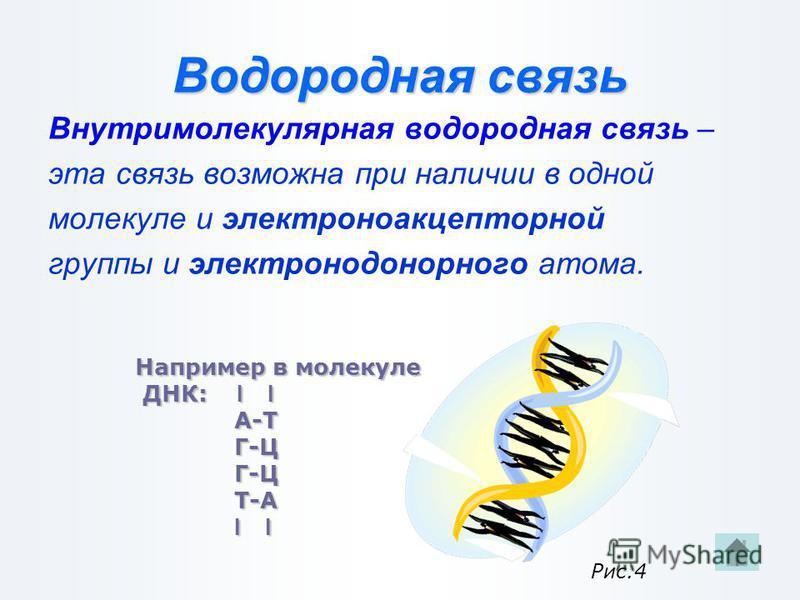 Водородная связь Межмолекулярная водородная связь – это связь между атомами водорода одной молекулы и сильно отрицательными элементами(O, N, F) другой молекулы. Н О - - - - Н О Н Н Н Н - - - - О Н - - - - О Н | | | | || | |