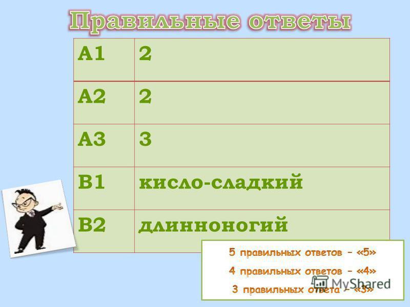 А12 А22 А33 В1 кисло-сладкий В2 длинноногий