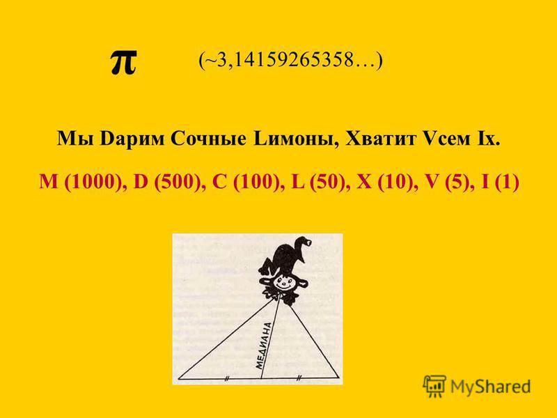π Мы Dарим Сочные Lимоны, Хватит Vсем Iх. (~3,14159265358…) M (1000), D (500), C (100), L (50), X (10), V (5), I (1)