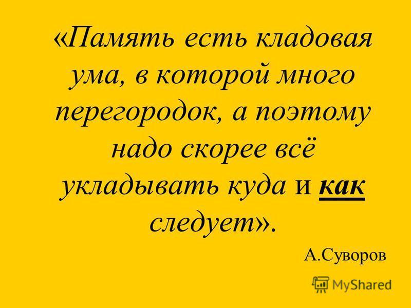 «Память есть кладовая ума, в которой много перегородок, а поэтому надо скорее всё укладывать куда и как следует». А.Суворов