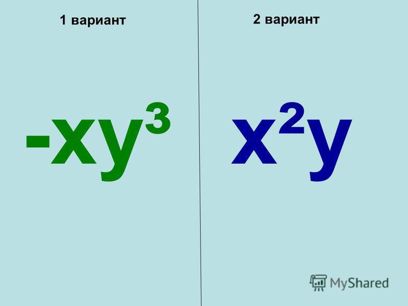 1 вариант 2 вариант -xy³x²y