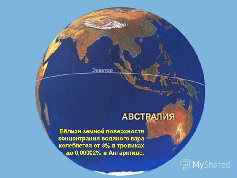 Вблизи земной поверхности концентрация водяного пара колеблется от 3% в тропиках до 0,00002% в Антарктиде.
