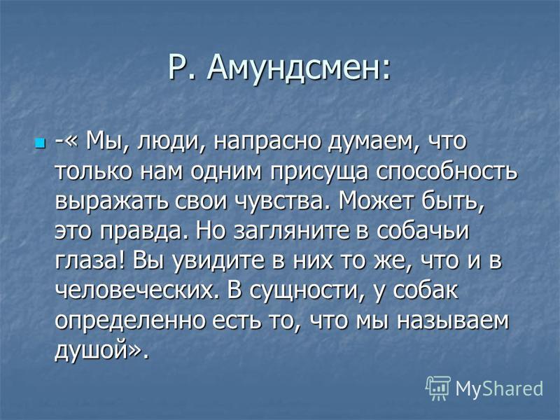Р. Амундсмен: -« Мы, люди, напрасно думаем, что только нам одним присуща способность выражать свои чувства. Может быть, это правда. Но загляните в собачьи глаза! Вы увидите в них то же, что и в человеческих. В сущности, у собак определенно есть то, ч
