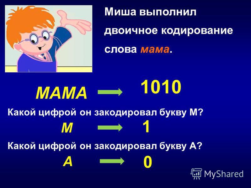 Миша выполнил двоичное кодирование слова мама. МАМА 1010 М А Какой цифрой он закодировал букву М? Какой цифрой он закодировал букву А? 1 0