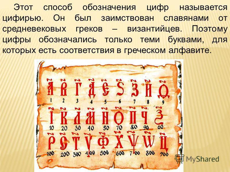 Этот способ обозначения цифр называется цифирью. Он был заимствован славянами от средневековых греков – византийцев. Поэтому цифры обозначались только теми буквами, для которых есть соответствия в греческом алфавите.