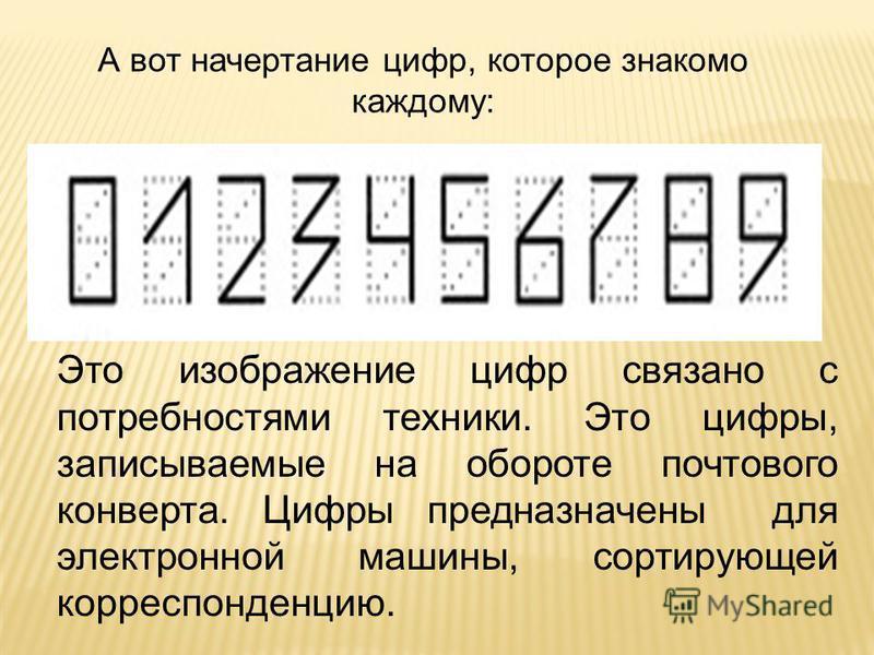 А вот начертание цифр, которое знакомо каждому: Это изображение цифр связано с потребностями техники. Это цифры, записываемые на обороте почтового конверта. Цифры предназначены для электронной машины, сортирующей корреспонденцию.