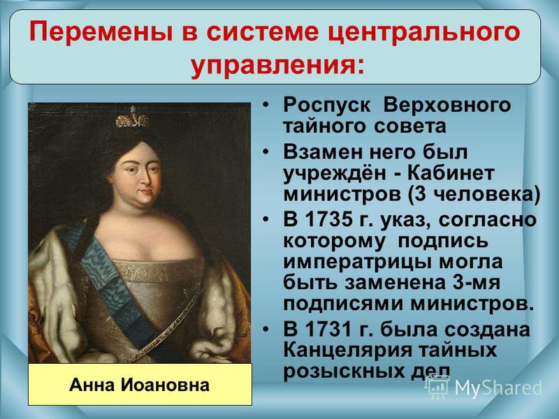 Роспуск Верховного тайного совета Взамен него был учреждён - Кабинет министров (3 человека) В 1735 г. указ, согласно которому подпись императрицы могла быть заменена 3-мя подписями министров. В 1731 г. была создана Канцелярия тайных розыскных дел Пер