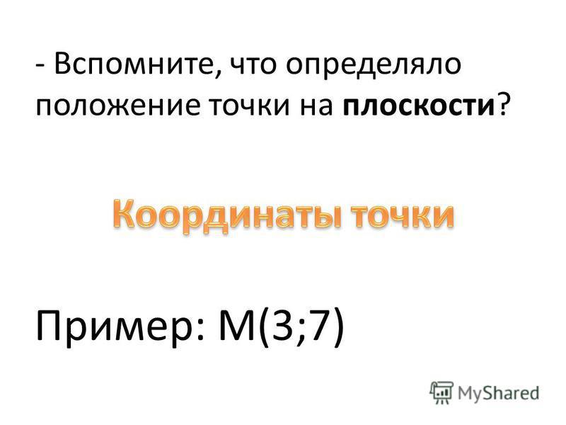 - Вспомните, что определяло положение точки на плоскости? Пример: М(3;7)