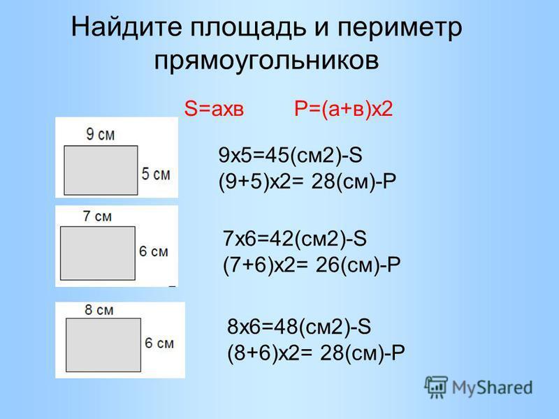 Найдите площадь и периметр прямоугольников 9 х 5=45(см 2)-S (9+5)х 2= 28(см)-Р S=ахв Р=(а+в)х 2 7 х 6=42(см 2)-S (7+6)х 2= 26(см)-Р 8 х 6=48(см 2)-S (8+6)х 2= 28(см)-Р