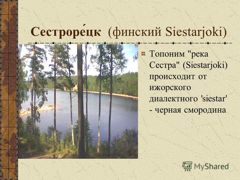 Сестроре́цк (финский Siestarjoki) Топоним река Сестра (Siestarjoki) происходит от ижорского диалектного 'siestar' - черная смородина