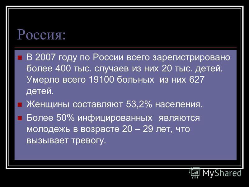 Россия: В 2007 году по России всего зарегистрировано более 400 тыс. случаев из них 20 тыс. детей. Умерло всего 19100 больных из них 627 детей. Женщины составляют 53,2% населения. Более 50% инфицированных являются молодежь в возрасте 20 – 29 лет, что
