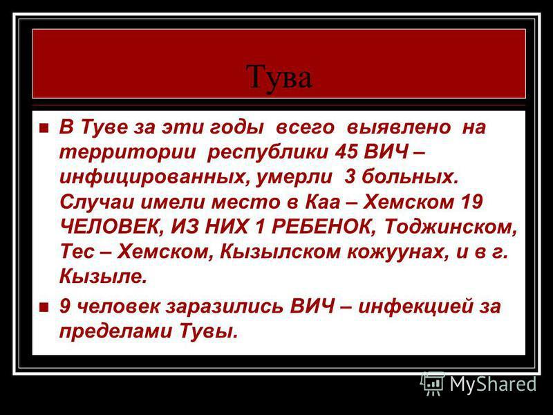 Тува В Туве за эти годы всего выявлено на территории республики 45 ВИЧ – инфицированных, умерли 3 больных. Случаи имели место в Каа – Хемском 19 ЧЕЛОВЕК, ИЗ НИХ 1 РЕБЕНОК, Тоджинском, Тес – Хемском, Кызылском кожуунах, и в г. Кызыле. 9 человек зарази
