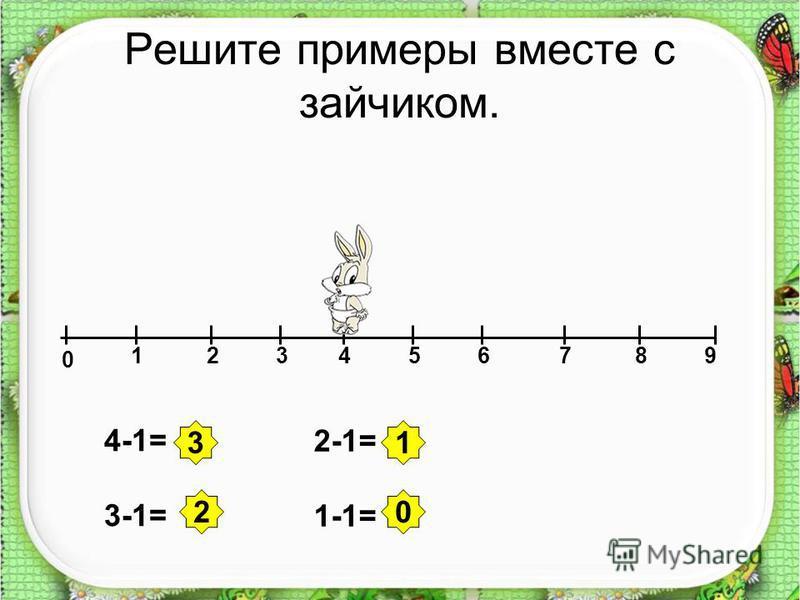Решите примеры вместе с зайчиком. 0 123456789 4-1= 3-1= 2-1= 1-1= 3 20 1