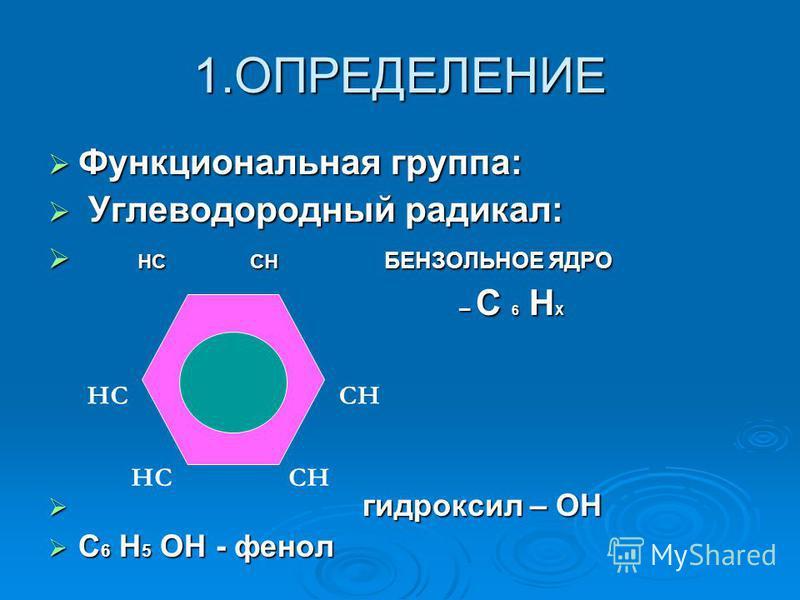 1. ОПРЕДЕЛЕНИЕ Функциональная группа: Функциональная группа: Углеводородный радикал: Углеводородный радикал: НС СН БЕНЗОЛЬНОЕ ЯДРО НС СН БЕНЗОЛЬНОЕ ЯДРО – С 6 Н Х – С 6 Н Х гидроксил – ОН гидроксил – ОН С 6 Н 5 ОН - фенол С 6 Н 5 ОН - фенол СН НС