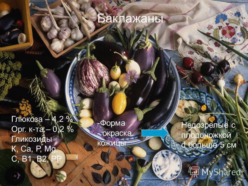 Баклажаны Глюкоза – 4,2 % Орг. к-та – 0,2 % Гликозиды К, Са, Р, Мg, С, В1, В2, РР -Форма - окраска кожицы Недозрелые с плодоножкой d больше 5 см