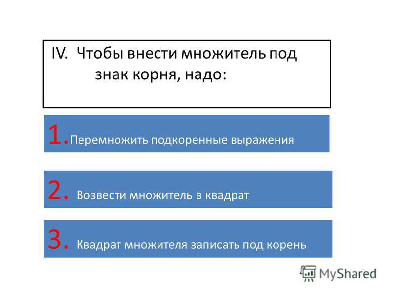 IV. Чтобы внести множитель под знак корня, надо: 1. Перемножить подкоренные выражения 2. Возвести множитель в квадрат 3. Квадрат множителя записать под корень