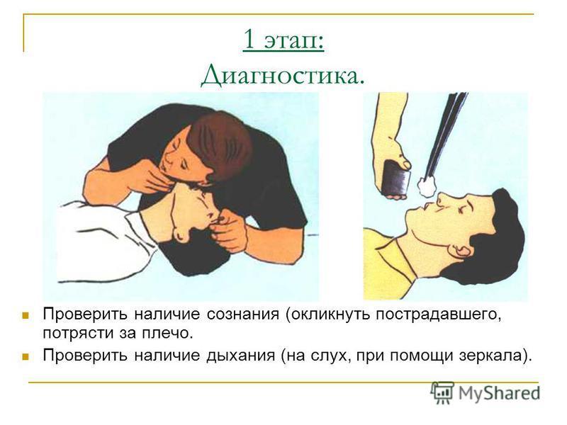 1 этап: Диагностика. Проверить наличие сознания (окликнуть пострадавшего, потрясти за плечо. Проверить наличие дыхания (на слух, при помощи зеркала).
