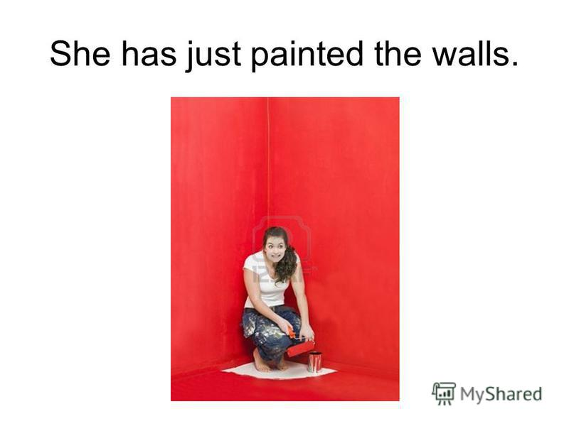 She has just painted the walls.