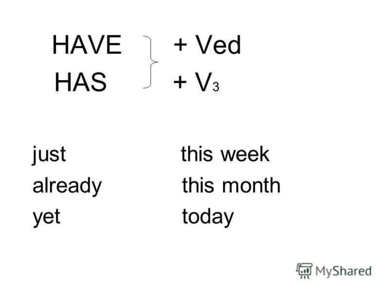 HAVE + Ved HAS + V 3 just this week already this month yet today