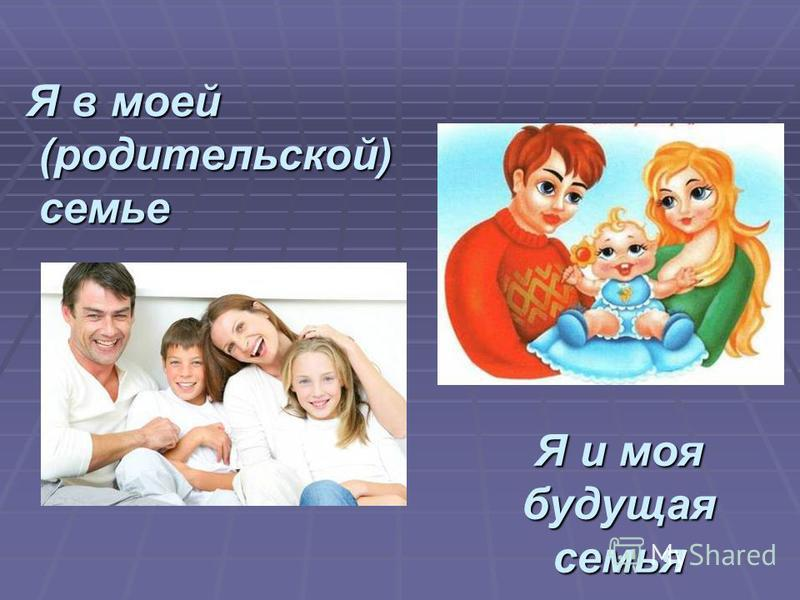Я в моей (родительской) семье Я и моя будущая семья