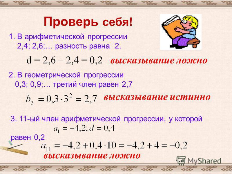 Проверь себя! 1. В арифметической прогрессии 2,4; 2,6;… разность равна 2. d = 2,6 – 2,4 = 0,2 высказывание ложно 2. В геометрической прогрессии 0,3; 0,9;… третий член равен 2,7 высказывание истинно 3. 11-ый член арифметической прогрессии, у которой р