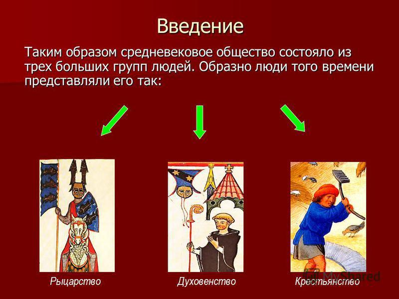 Введение Таким образом средневековое общество состояло из трех больших групп людей. Образно люди того времени представляли его так: Духовенство РыцарствоКрестьянство