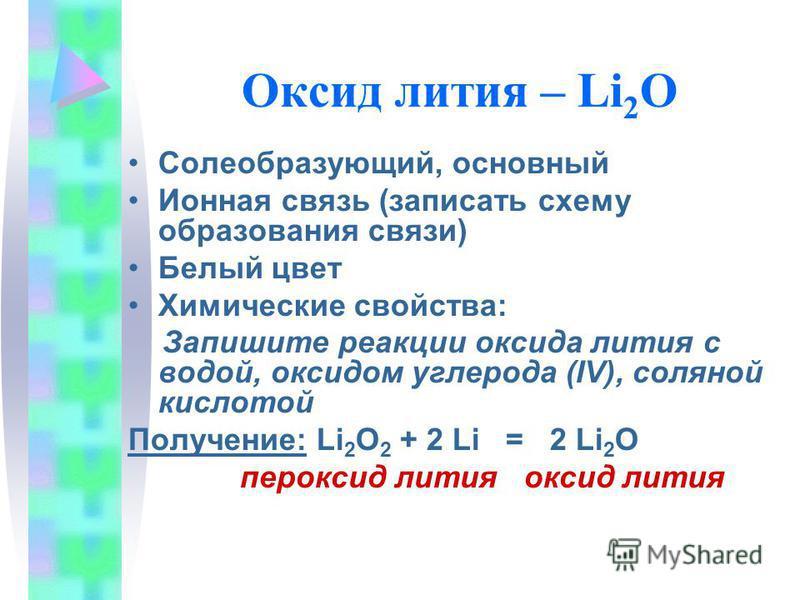 Оксид лития – Li 2 O Солеобразующий, основный Ионная связь (записать схему образования связи) Белый цвет Химические свойства: Запишите реакции оксида лития с водой, оксидом углерода (IV), соляной кислотой Получение: Li 2 O 2 + 2 Li = 2 Li 2 O перокси