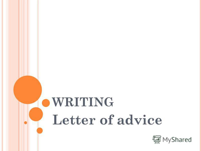 WRITING Letter of advice