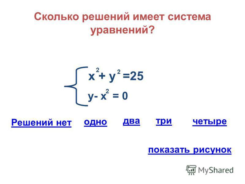 Сколько решений имеет система уравнений? х + у =25 2 2 у- х = 0 2 Решений нет одно три два четыре показать рисунок