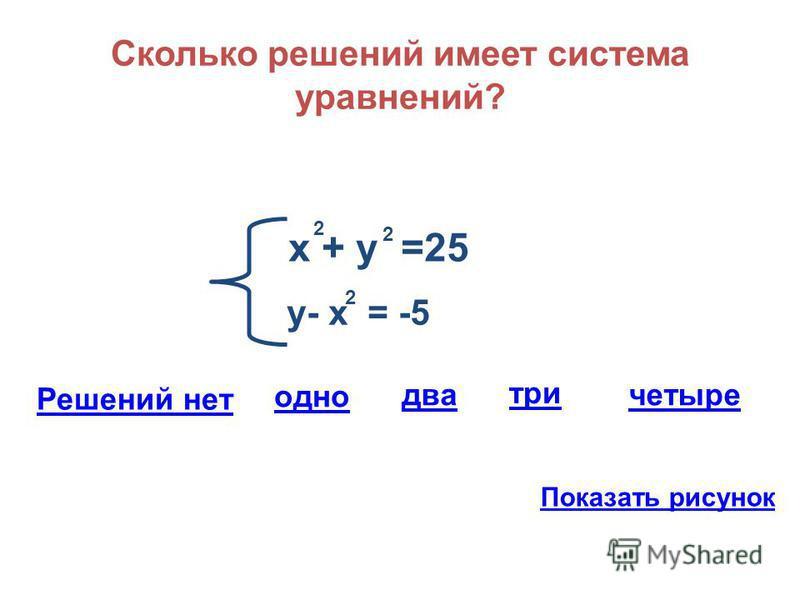 Сколько решений имеет система уравнений? х + у =25 2 2 у- х = -5 2 Решений нет одно три два четыре Показать рисунок