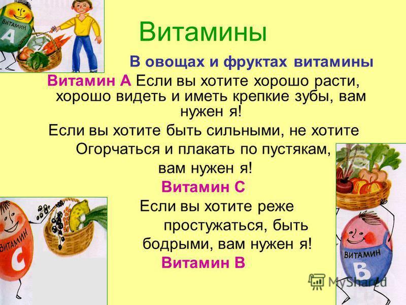 Витамины В овощах и фруктах витамины Витамин А Если вы хотите хорошо расти, хорошо видеть и иметь крепкие зубы, вам нужен я! Если вы хотите быть сильными, не хотите Огорчаться и плакать по пустякам, вам нужен я! Витамин С Если вы хотите реже простужа