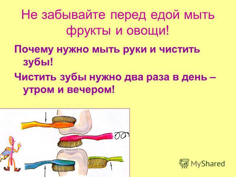 Не забывайте перед едой мыть фрукты и овощи! Почему нужно мыть руки и чистить зубы! Чистить зубы нужно два раза в день – утром и вечером!