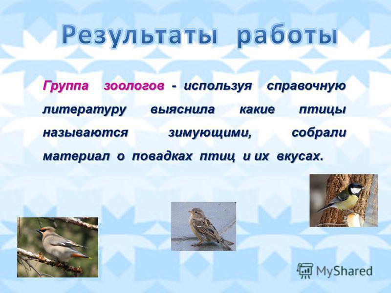 Группа зоологов - используя справочную литературу выяснила какие птицы называются зимующими, собрали материал о повадках птиц и их вкусах.