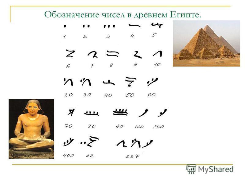 Обозначение чисел в древнем Египте.