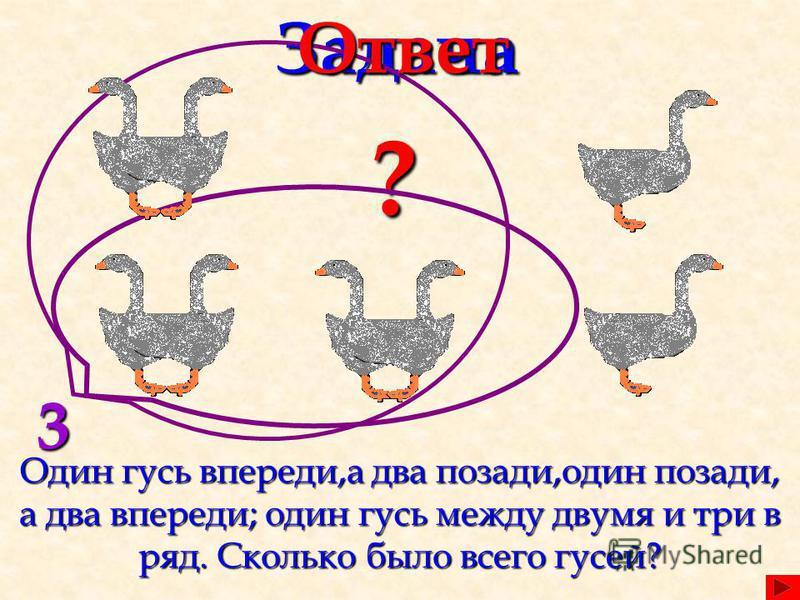 Задача Один гусь впереди,а два позади,один позади, а два впереди; один гусь между двумя и три в ряд. Сколько было всего гусей? ? 3Ответ