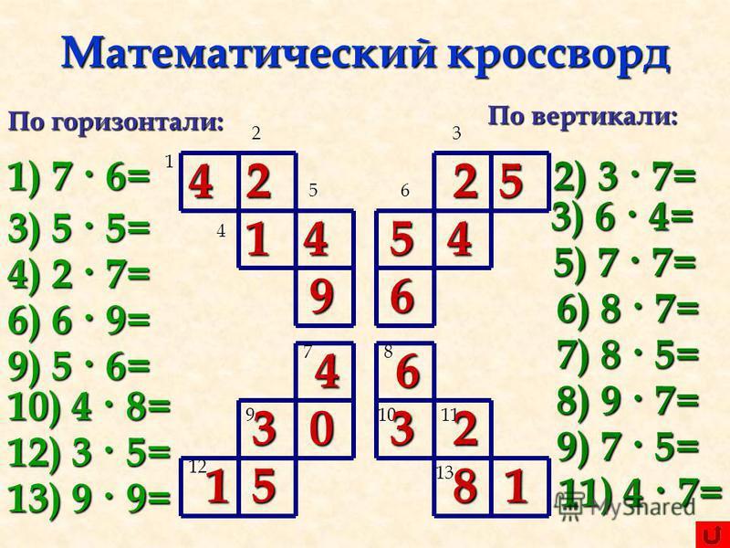 Кроссворды по математике для 1-2 класса