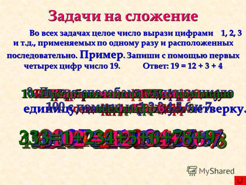 Задачи на сложение Во всех задачах целое число вырази цифрами 1, 2, 3 и т.д., применяемых по одному разу и расположенных последовательно. Пример. Запиши с помощью первых четырех цифр число 19. Ответ: 19 = 12 + 3 + 4 1. Изобрази число 24 цифрами от 1