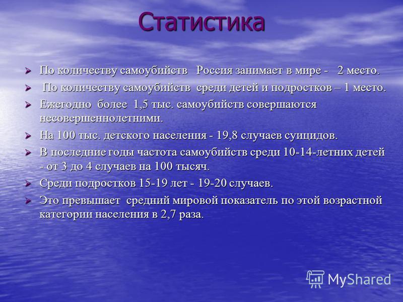 Статистика По количеству самоубийств Россия занимает в мире - 2 место. По количеству самоубийств Россия занимает в мире - 2 место. По количеству самоубийств среди детей и подростков – 1 место. По количеству самоубийств среди детей и подростков – 1 ме