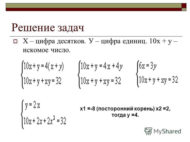 Задача 1. Двузначное число в четыре раза больше суммы его цифр. Если к этому числу прибавить произведение его цифр, то получится 32. Найдите это двузначное число.