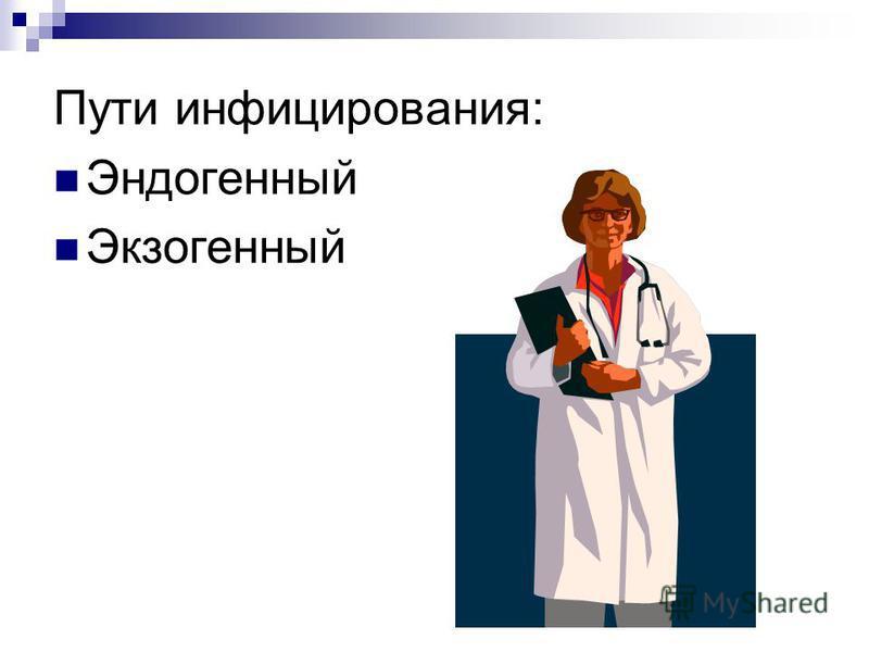 Пути инфицирования: Эндогенный Экзогенный